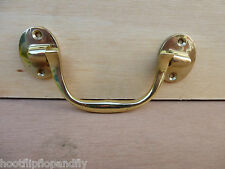 """3 1/2"""" SOLID POLISHED BRASS MILITARY STYLE CABINET CHEST HANDLE BOX SCREW K23502"""