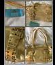 Kathy Van Zeeland metallic Studs Casino Satchel Purse Bag Gold Authentic Zipper