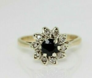 9ct Yellow Gold Sapphire and Diamond Cluster Ring (Size J, US 4 3/4)