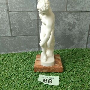 White Stone Male Discus Thrower Carved Figure Marble Base  Greek/Roman