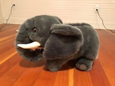 "Large Plush Gray Elephant Stuffed Animal - 18"" Long - Africa Safari Theme"