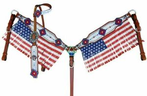 Showman ® American Flag fringed headstall and breast collar set