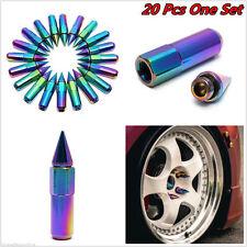 20Pcs Aluminum Neo Chrome Slick Spike Wheel Lug Nuts Bolts Spiked Tuner M12X1.5