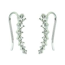 Ear Cuff Climbers Crawlers Sweep White Gold Plated Clear Crystal Earrings