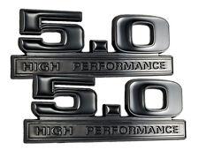 Two Tone Glossy & Matte Black 5.0 High Performance Emblems Logo Badge - Pair
