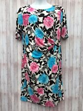 Size 20 Floral Dress Pink Blue David Emanuel Ruched Gather Flattering Style NEW