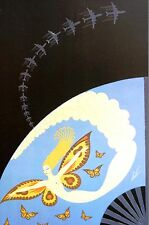 Erte 1987 Four Elements AIR - BUTTERFLIES AIRPLANE CLOUDS Art Deco Matted Print