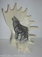 """Collectible Hunting Outdoors Howling Wolf Bear Antlers 4.5"""" Figure Figurine Gift"""