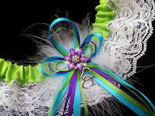 PLUS SIZE Pretty APPLE Green PURPLE TURQUOISE Wedding Bridal Lace GARTER PROM
