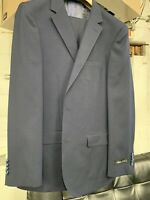 New 46R Men's Navy Blue Suit 100% Wool Super 150 Made in Italy Retail $1295