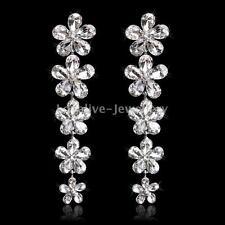 New Bridal Top Crystal Beautiful Flower Long Drop Earrings Women Wedding Party
