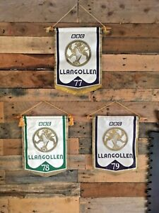 3 DECORATIVE 1970'S WELSH EISTEDDFOD BBC LLANGOLLEN WALL HANGINGS PENNANTS FLAGS