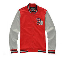 Mens Casual Two Tone Snap Button Baseball Varsity Jacket Jumper Red Size S NWT