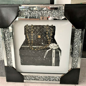 50x50cm New CRUSHED DIAMOND CRYSTAL FRAME SILVER WALL LIQUID ART MIRROR PICTURE