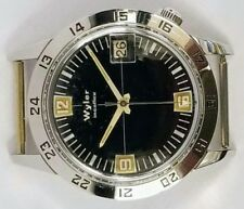 NOS 1970's vintage wyler diver GMT incaflex black dial men's wrist watch