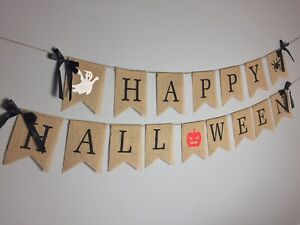 Halloween Hessian Fabric Bunting Banner Garland decor decoration party