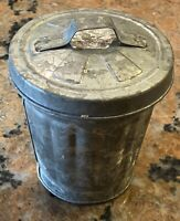 Vintage Advertising Salesman's Sample Galvanized Metal Trash Can 3.75 Inch Tall