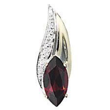 Anhänger 585 Gold Gelbgold 2 Diamanten Brillanten 1 Granat rot Granatanhänger