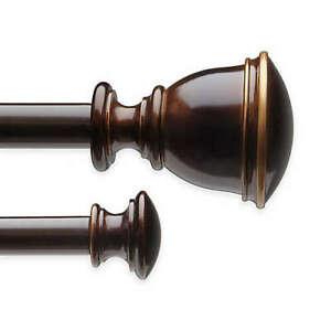 "Umbra Bedford 28 to 48"" Adjustable Window Curtain Double Rod Set in Bronze"