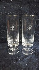 Engraved tube flute Glasses with Rune symbols, Wicca, Pagan, Clearance!