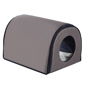 Pawhut Heated Outdoor Cat Shelter - Brown