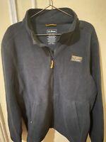 LL Bean Sweater Fleece Full-Zip Jacket Men's Black XXL