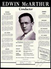 1940 Edwin McArthur photo Usa concert tour booking trade print ad