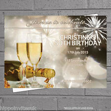 12 x 21st 30th 40th 50th 60th Champagne Birthday Party Invitations +envs H0049