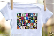 GABRIELLE Baby Bodysuit in Sign Letter Photos - 100% Cotton & Short Sleeve