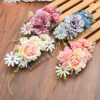 Ladies Flower Hair Comb Pins Clip Slide Bridal Wedding Hair Accessories Festival