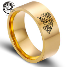 Man's Stainless Steel Ring Game of Thrones Wolf Titanium Steel Rings gold SZ8