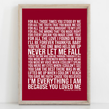 More details for celine dion because you loved me song lyrics poster print wall art
