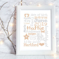 Personalised A4 Print,New Baby,Family Gift,Wall Art,-NO FRAME
