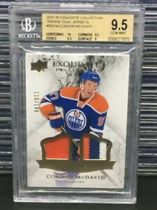 2015-16 Exquisite Connor McDavid Dual Rookie Jersey Patch #/149 BGS 9.5 BN