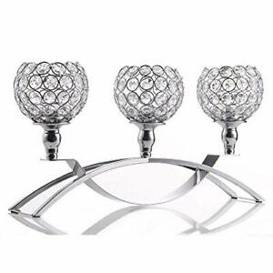Candle Holder Crystal Silver, Ornaments for Living Room Wedding Home