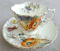 Aynsley Hand-Painted Poppy Teacup & Saucer Gold Trim England 508 Bone China