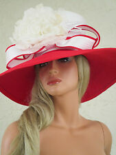 SHELLIE MCDOWELL Couture Hat RED WHITE Derby Church Wedding EXCELLENT