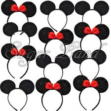 12 Minnie and Mickey Mouse Headbands Ears Red Bows Sparkle Shimmer Sequin Favors