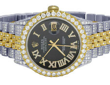 Rolex 18K/ Steel Two Tone Datejust 36MM Black Roman Dial Diamond Watch 13.0 Ct