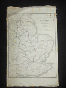 Early Railway Map from 1836 - London to York & Norwich, Northern & Eastern Rail