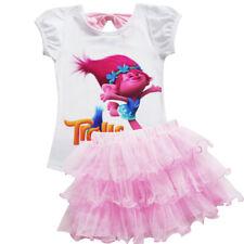 2020 Girls Trolls Poppy Dress Cosplay Gown Kids Clothing Party Fancy Tutu Dress