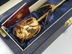 24k GOLD DIPPED ROSE on STEM Not Scrap HAND CRAFTED 7.25g CERTIFICATE COA