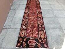 Vintage Traditional Hand Made Oriental Red Pink Wool Long Narrow Runner 388x80cm