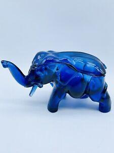 Vintage Tiara Indiana Cobalt Blue Glass Elephant Vanity Trinket Box