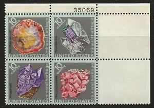 US Scott #1538-41, Plate Block #35069 1974 Minerals 10c FVF MNH Upper Right