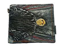 Men's Genuine Leather Wallet, Carved Wallet, Airbrush Art, Jason Takes Manhattan