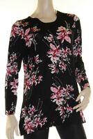 Tunic Top Pink Black Drape Plus Size 10 12 14 16 18 20 EVERSUN Floral