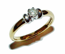 Fully Hallmarked 18ct Yellow Gold & 0.15ct Diamond Solitaire Ring - UK Size: L