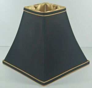 SQUARE SILK  LAMP SHADE -BLACK WITH GOLD LINING AND TRIM - EXCELLENT CONDITION