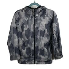 Boy's Columbia Hooded Winter Jacket Coat Camouflage Black/Gray Medium Size 10-12
